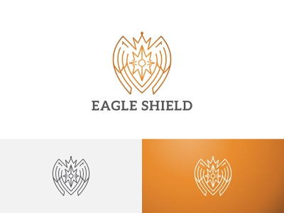 Golden Eagle Falcon Bird Shield Crown Line Logo ui illustration horned green flying dragon design branding app logo line crown shield bird falcon eagle golden