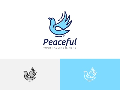 Peaceful Dove Pigeon Flying Wing Peace Love Freedom Logo ui illustration horned green dragon design branding app logo freedom love peace wing flying pigeon dove peaceful