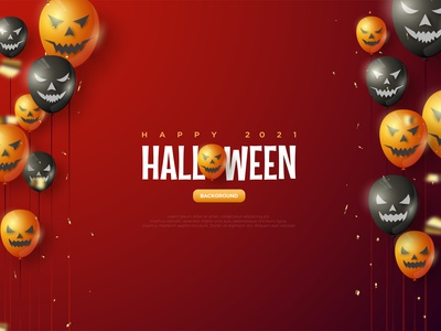 Halloween Balloon Red Background Illustration helloween halloween scary walpaper element celebrate template poster art background illustration vector graphic design character sprinkle event party balloon style