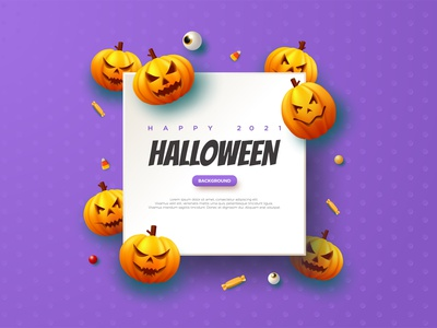 Halloween Pumpkin Blue Background Illustration party event scary template poster element character art background walpaper graphic design illustration vector pumpkin candy note paper purple helloween