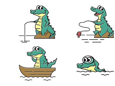 Crocodile Alligator Swimming Fishing Fish Boat Cartoon Mascot reptile fun cute design picture drawing vector character mascot cartoon boat fish fishing swimming alligator crocodile