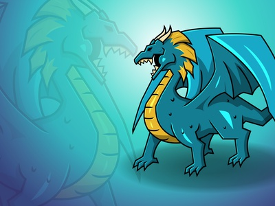 Blue Dragon Wings Fantasy Mythology Monster Legend Creature game mascot character games wild legendary asian china creature legend monster mythology fantasy wings dragon blue