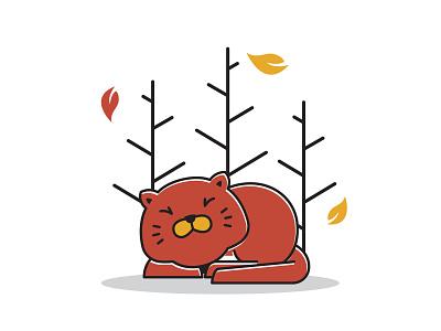 Cute Sleeping Fat Cat Autumn Fall Season Cartoon picture art vector design mascot character tree leaves cartoon season fall autumn cat fat sleeping cute