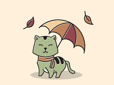 Cat Scarf Standing Smiling Umbrella Autumn Fall Season Cartoon cute mascot event character art vector illustration design leaves cartoon season fall autumn umbrella smiling standing scarf cat