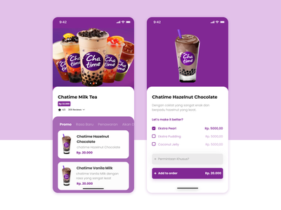 Chatime App UI figma uiux ux ui design illustraion chatimeapp chatime iphone mobile app mobile ui e-commerce app