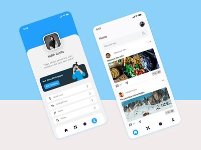Pofile and Home Design uidesign uiux mobile app homedesign profiledesign app mobile ui