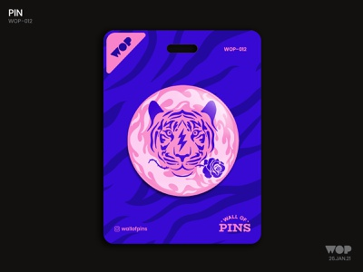 WOP 012 rose tiger illustration tiger vector fire typography logo pinbutton wallofpins badgedesign adobe illustration design