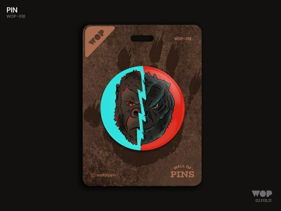WOP 018 movie poster kingkong godzilla monster cool pinbutton wallofpins badgedesign adobe illustration design