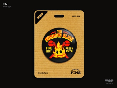 WOP 024 pizza fire logo pinbutton design adobe wallofpins illustration badgedesign