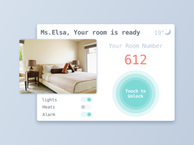 DailyUI #021 alarm heats light room hotel unlock dashboard monitoring home 021 dailyui