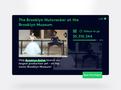 DailyUI #032 button rounded corner gradient card ballet price brooklyn color 032 dailyui crowdfunding campaign
