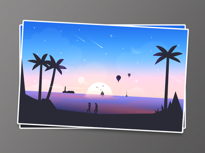 Beach  illustration fantasy gradient star balloon relax sun coconuts island night sky sunshine beach