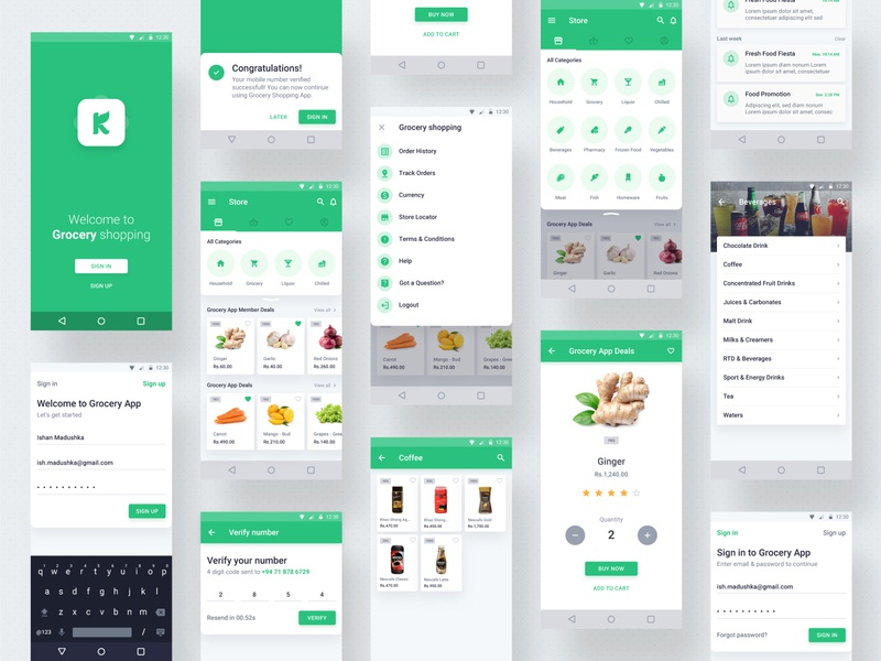 Grocery Shopping App - Android android mockup mobile app concept iphone x apple inspiration userinterface ux ui