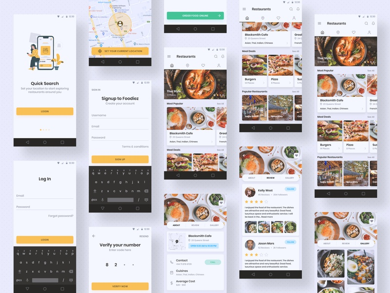 Restaurants App - Android login screen mobile ui mobile app design inspiration uidesign ui kit design app design android app design android app mobile app mockup concept userinterface ux ui