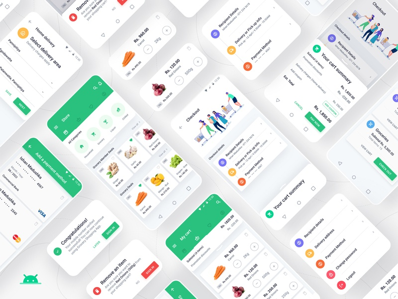 Grocery Shopping Full App - Android concept mobile app design mobile app android app design android design android app app ux ui userinterface grocery online shopping app grocery shopping app grocery shopping app grocery app