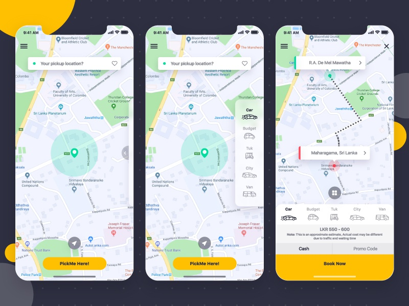 Taxi Booking App UI by Ishan Madushka on Dribbble
