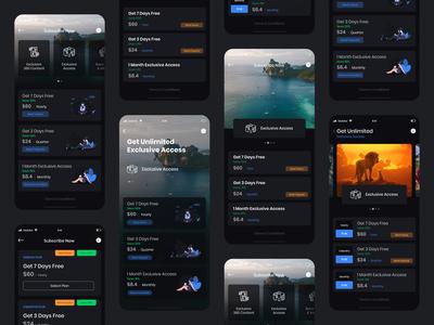 Subscription UI 360VUZ App (Dark Theme)