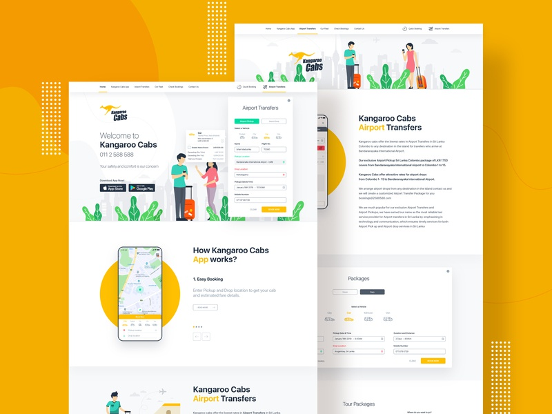 Kangaroo Cabs Web Design web kangaroo cabs vector concept illustration userinterface web ui web design trends inspiration ux ui website cab website taxi website website design webdesign