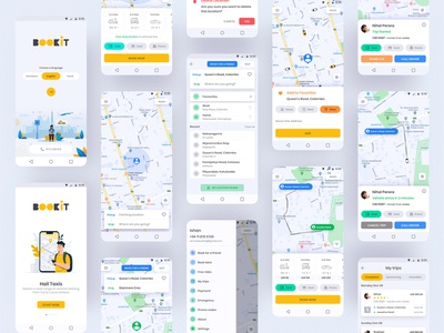 Taxi Booking App UI Kit taxi booking android app design mobile app design mobile app user interface ui design taxi ui taxi app taxi booking app android app inspiration userinterface ux ios ui