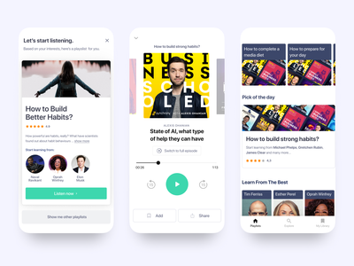 Mindbites // Podcast App 📱🎧 fintech app player player ui podcast app web ui design