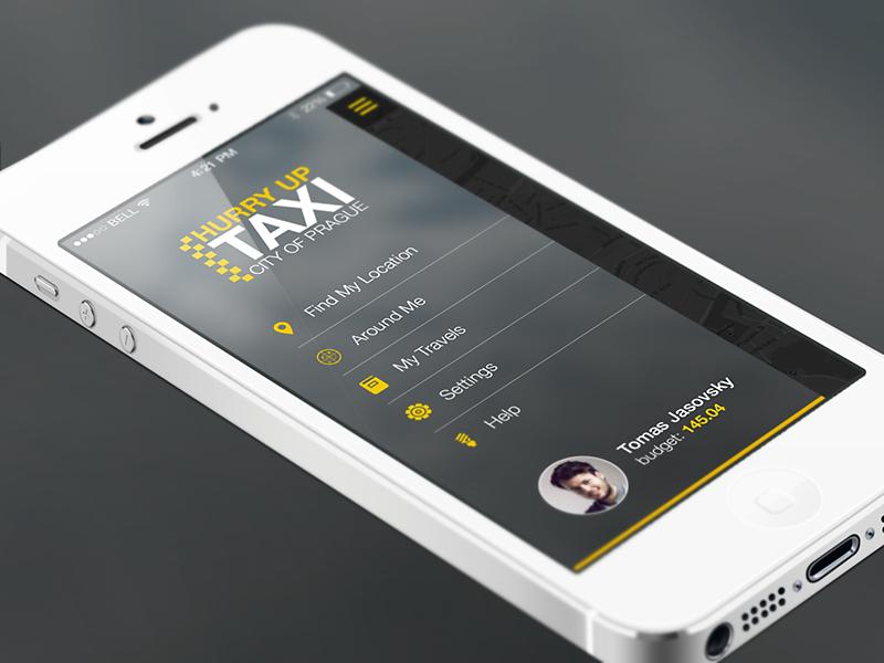 Side Menu  ios7 taxi app ui interface