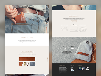 Made In Days - Handcrafted Leather Goods landing page webdesign leather handcrafted design