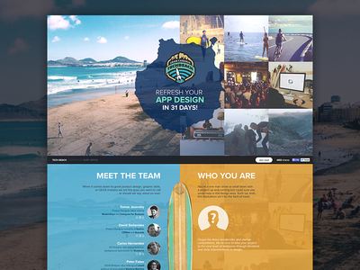 The Tech Beach landing page web design ui ux hackathon collaboration remote office surf beach