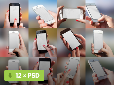 12 NEW Mockuuups iphone 5s mockups mock-ups templates psd hand white black