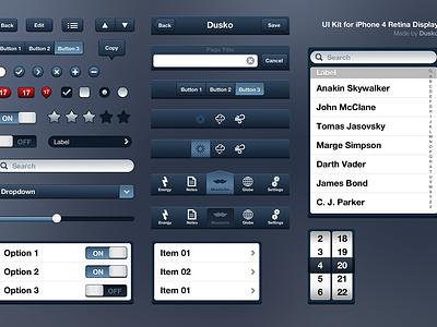 iPhone 4 UI Kit (PSD) ui kit retina iphone psd