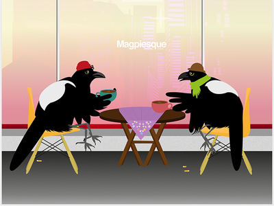Hipster magpies illustrator vector art birds sarcastic hipster