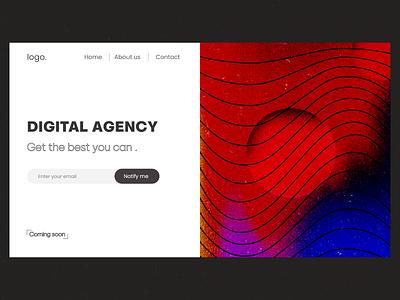 digital agency landing page adobe xd adobexd home page coming soon websitedesign ux design uiux design landing page ui design website design web-design ui ux design