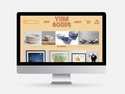"""YUM GOODS"" vintage/modern style prototype sketch app website ui design mobile app style modern vintage"