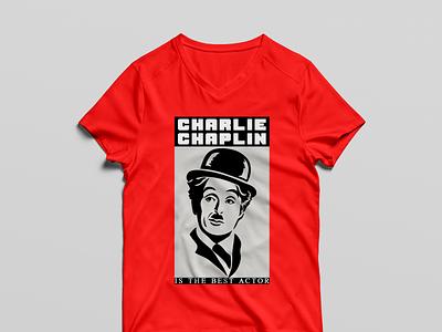 T SHIRT CHARLIE CHAPLIN  RED mug design illustration book cover design vector t shirt typography t shirt design logo branding