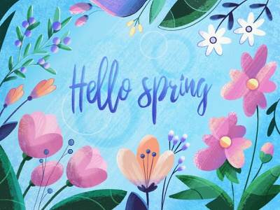 Hello spring lettering greeting card flowers illustration beautiful springtime textures flowers illustration illustrator spring