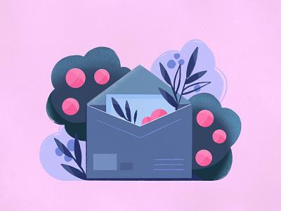 You've got one new letter beautiful postoffice flowers letterillustration envelope design letter illustration