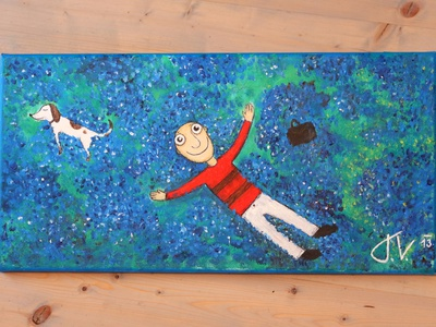Cool dog children acrylic paint colour cool paintings