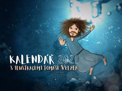 Under water calendar deep faith christian children ilustration water