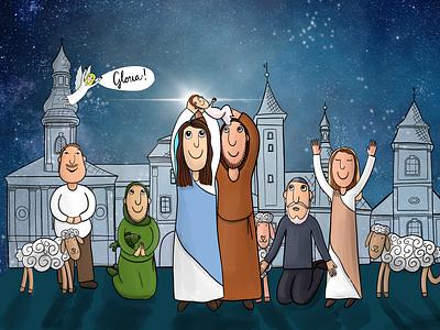 Bethlehem bethlehem jesus christian light family children ilustration