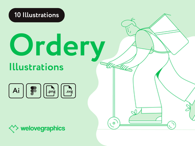 Ordery Delivery Illustrations courier app design app website figma vector illustrations delivery