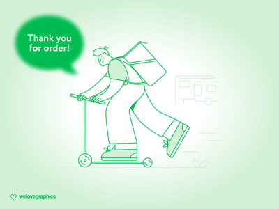 Ordery Express delivery startup delivery app pack green delivery illustrations illustrator