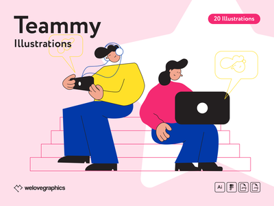 Teammy Illustrations help idea team work figma people vector illustrator illustration office teamwork team