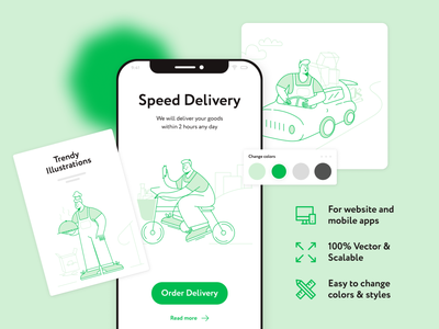 Ordery Illustrations mobile app food app figma food delivery green illustration delivery service delivery app delivery