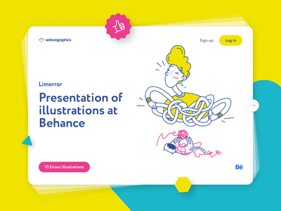 Limerror on Behance notifications illustrations cartoon illustration character cartoon error message errors error 404page