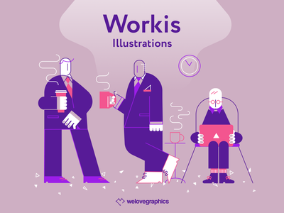 Workis - Coffee break team working agency coffee cup coffee business vector illustration