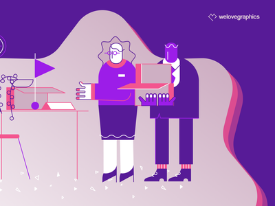 Workis - New workplace office space office business work purple illustrator illustration vector teamwork workspace