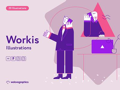 Workis Illustrations purple vectorart vector illustrations teamwork day bussiness work office