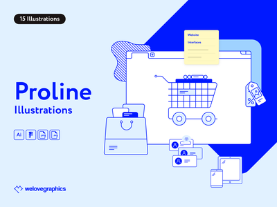 Proline Illustrations pack web design mobile shopping app lineart vector figma illustrator illustration video interface crm shop website