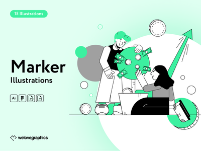 Marker Illustrations diagram charts target statistic analitycs planing social media advertise email marketing marketing app website figma pack illustrations illustrator illustration vector