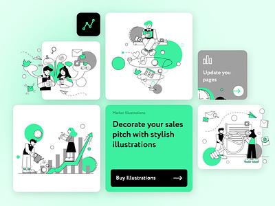 Marker Illustrations app pack website illustrations illustrator illustration vector social socialmedia internet marketing marketing campaign marketing agency marketing