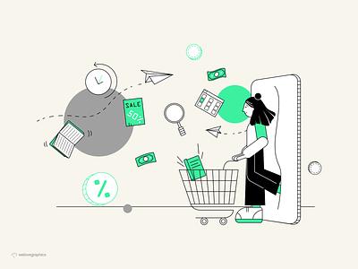 Online Shopping sale cart shop design app website pack illustrator illustrations figma illustration vector marketing
